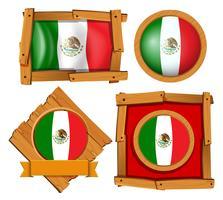 Mexiko-Flagge in verschiedenen Rahmendesigns