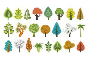 En uppsättning platta silhuetter av träd av