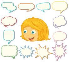 Ein Mädchen mit verschiedenen Sprechblasen