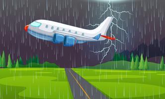 Ett flygplan som flyger i åskväder
