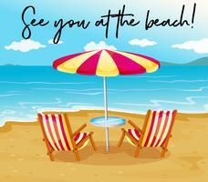 Strandszene mit Phrase sehen Sie am Strand