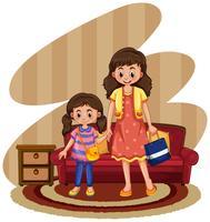 Mor och dotter i vardagsrummet