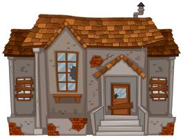 Altes Haus mit zerbrochenen Fenstern und Tür vektor