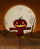 halloween fullmåne natt scen vektor