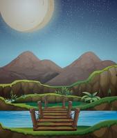 Bakgrundsscen med fullmoon och flod på natten