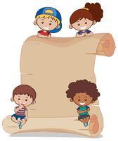 Papierhintergrund mit vier Kindern