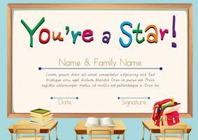 Certifikatmall med böcker i klassrumsunderlaget vektor