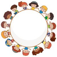 Internationale Kinder mit leerer Vorlage