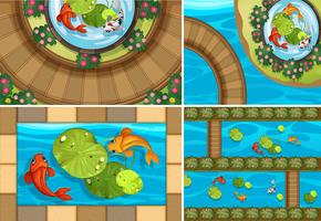 Vier Szenen mit Fisch in den Teichen