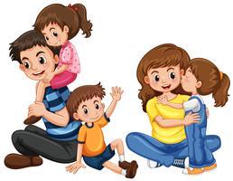 Far och mor med tre barn