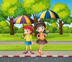 Två tjejer med paraply i regnet