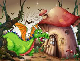 En grön drake i mörk skog