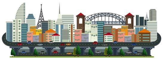 Ein Panorama der Großstadtlandschaft vektor