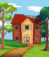 Brutet hus på landet vektor