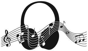 Silhuett hörlurar med noter i bakgrunden vektor