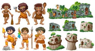 Grotta människor och olika stilar av hus