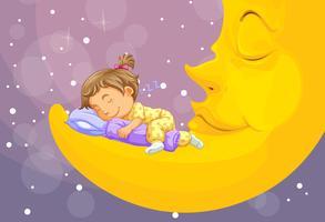 Kleines Mädchen, das auf dem Mond schläft vektor