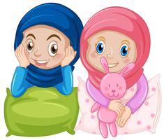 Muslim flickvän på vit bakgrund vektor
