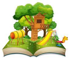 Boka med lekplats i parken vektor