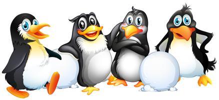 Fyra pingviner med snöbollar