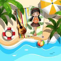Ein Mädchen am Strand entspannen