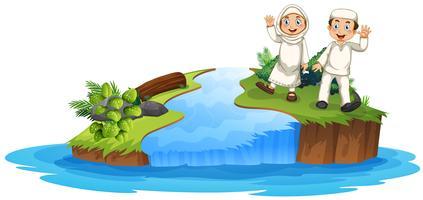 Muslimskt par i naturen