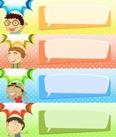 Sprechblasenvorlagen mit vier Jungen