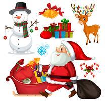 Ställ in julobjekt och tecken vektor
