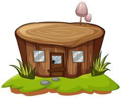 Baumstumpf mit Tür und Fenstern