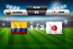 Kolumbien vs Japan Anzeigetafel vektor