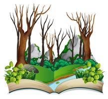 Öppna bok djungel tema