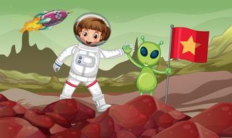 Grön alien och astronaut i rymden med röd flagga