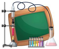 Brettschablone mit Wissenschaftsausrüstungen