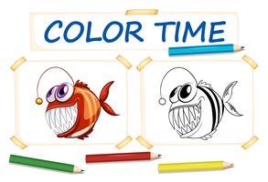 Färgsmall med fula fiskar vektor