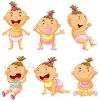 Baby in sechs Aktionen vektor