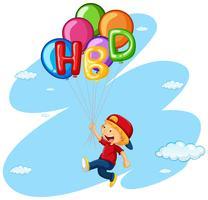 Liten pojke som flyger med ballonger