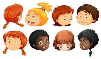 Olika ansikte av pojkar och tjejer