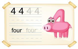 Nummer vier Schweine Arbeitsblatt vektor