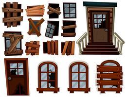 Gebrochene Türen und Fenster vektor