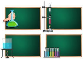 Vorlage mit vier Fahnen mit Wissenschaftsausrüstungen