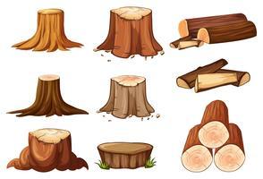En uppsättning av trädstubbe och timmer