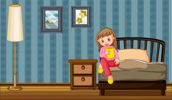 Mädchen, das Imbiß im Schlafzimmer isst vektor