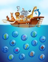 Zahlen unter Wasser und Tiere auf dem Schiff vektor