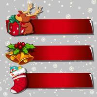 Design mit drei Fahnen mit Weihnachtsthema