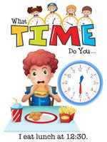 En pojke äter lunch klockan 12:30 vektor