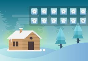 Mysiga inställningar av hem i snöfall med adventskalender