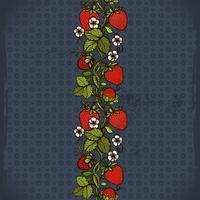 Abstrakte Farbnahtloses Spitzemuster mit Blumen, Blättern und Erdbeere auf dem Hintergrund. vektor