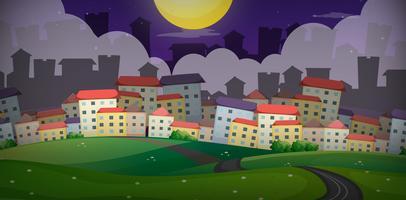 Bakgrundsscen med hus i byn på kullarna