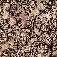 Vektor spets sömlösa mönster dekorativa jordgubbe, löv, sammanflätad med viskösa linjer.