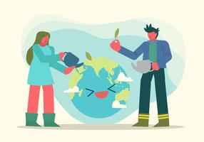 Junge und Mädchen sparen Erdevektor-Charakter-Illustration